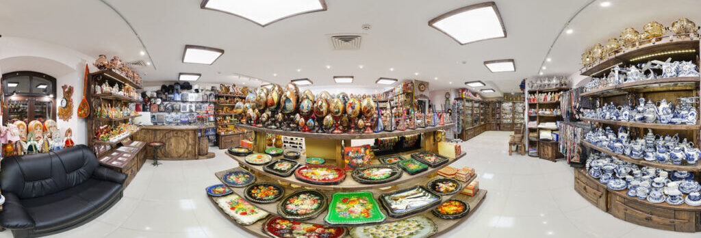 Panoramic photo of the shop